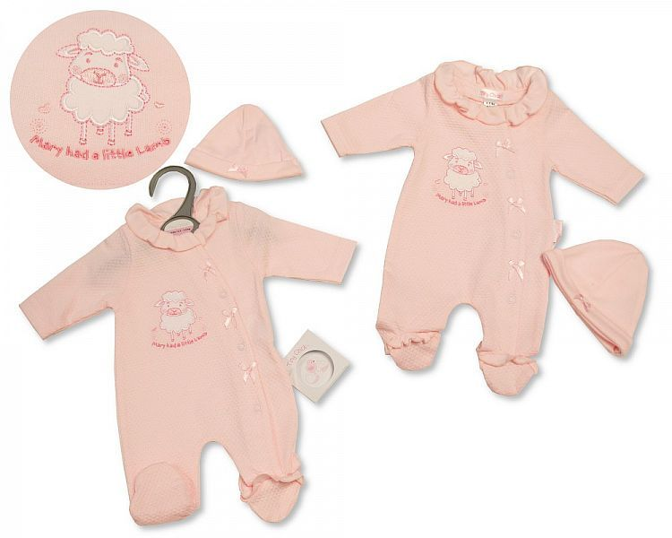 PB348, Premature Baby Girls All in One with Hat - Little Lamb £5.25.  PK6..