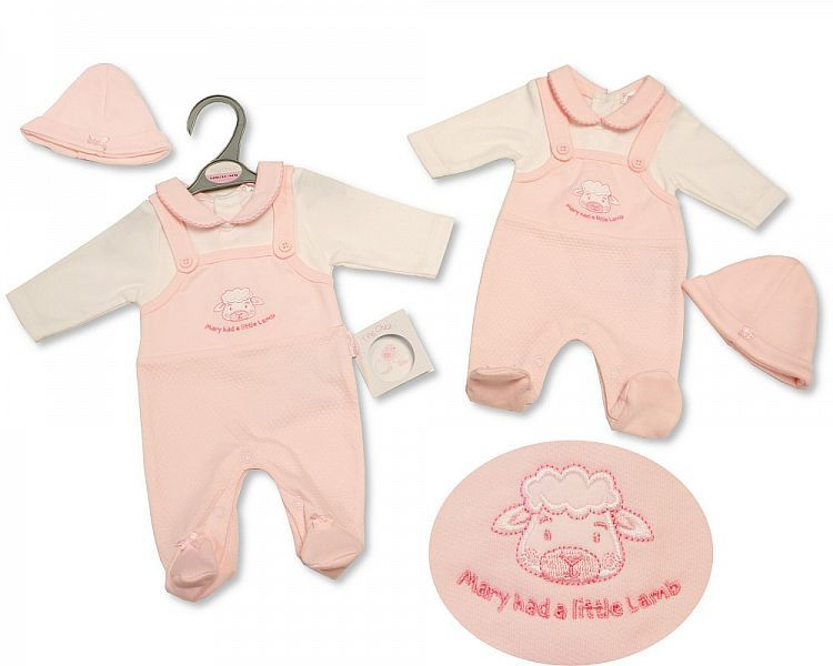 PB347, Premature Baby Girls Dungaree All in One with Hat - Little Lamb £6.5