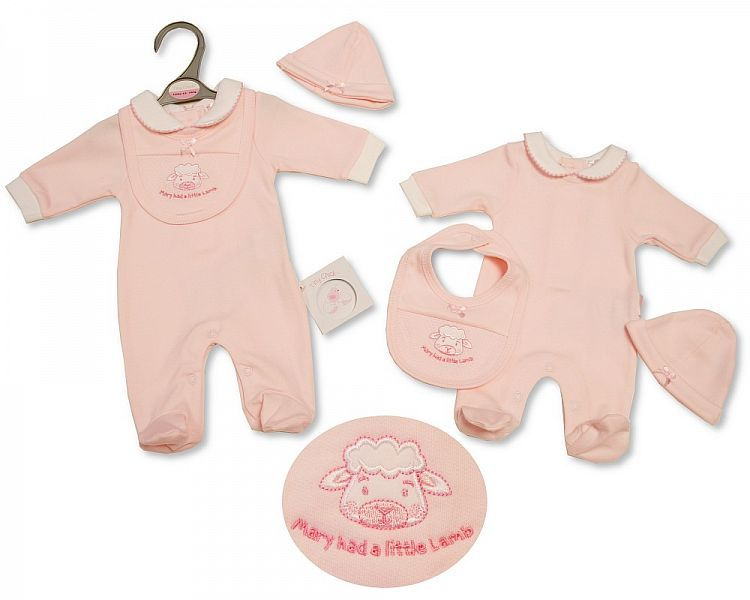 PB346, Premature Baby Girls All in One with Bib and Hat - Little Lamb £5.25