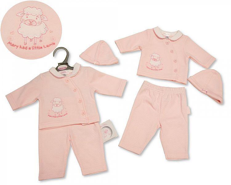 PB345, Premature Baby Girls 2 Pieces Set with Hat - Little Lamb £6.75.  PK6