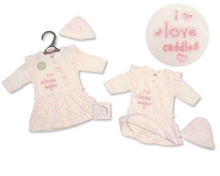 PB341, Premature Baby Girls Dress-Bodyvest with Hat - I Love Cuddles (Dress