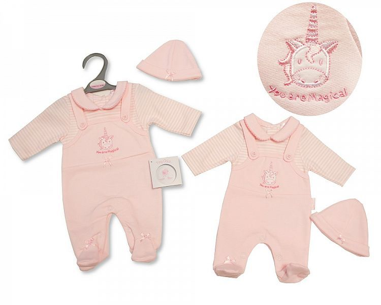 PB340, Premature Baby Girls Dungaree All in One with Hat - Unicorn £6.75.