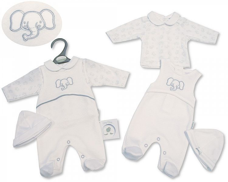 PB334, Premature Baby 2 Pieces All in One with Hat - Elephant £6.75.  PK6..