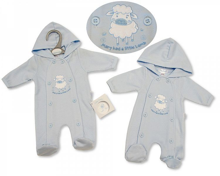 PB333, Premature Baby Boys Hooded All in One - Little Lamb £6.25.  PK6..