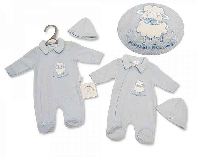 PB332, Premature Baby Boys All in One with Hat - Little Lamb £5.25.  PK6..