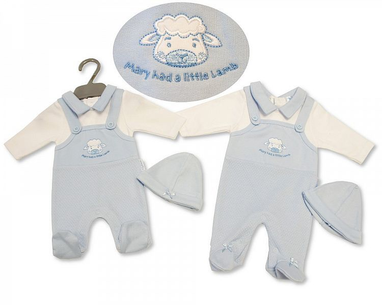 PB331, Premature Baby Boys Dungaree All in One with Hat - Little Lamb £6.50