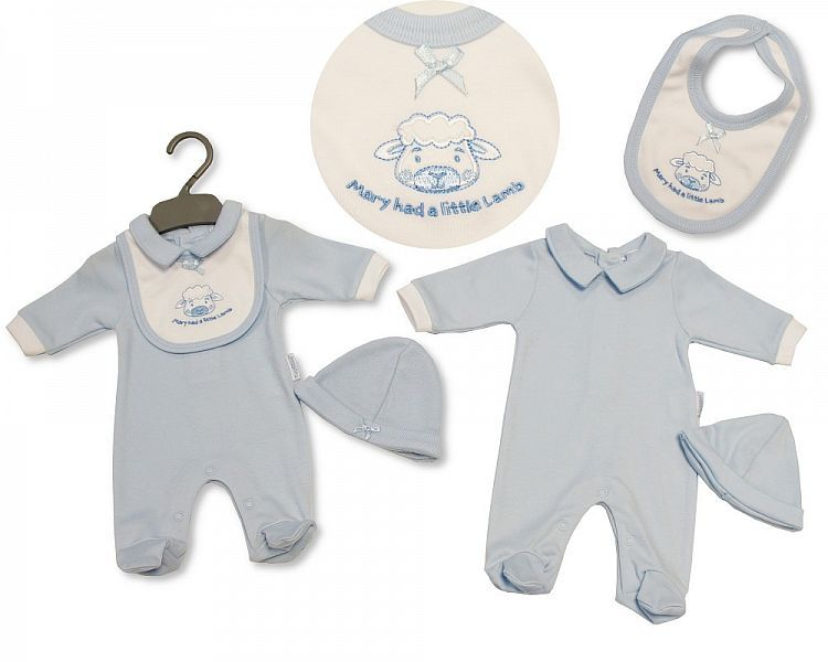 PB330, Premature Baby Boys All in One with Bib and Hat - Little Lamb £5.25.