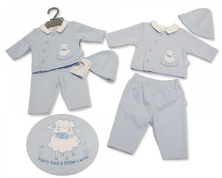PB329, Premature Baby Boys 2 Pieces Set with Hat - Little Lamb £6.50.  PK6.