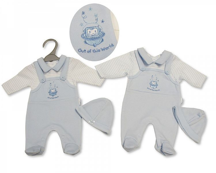 PB328, Premature Baby Boys Dungaree All in One with Hat - Out of This World