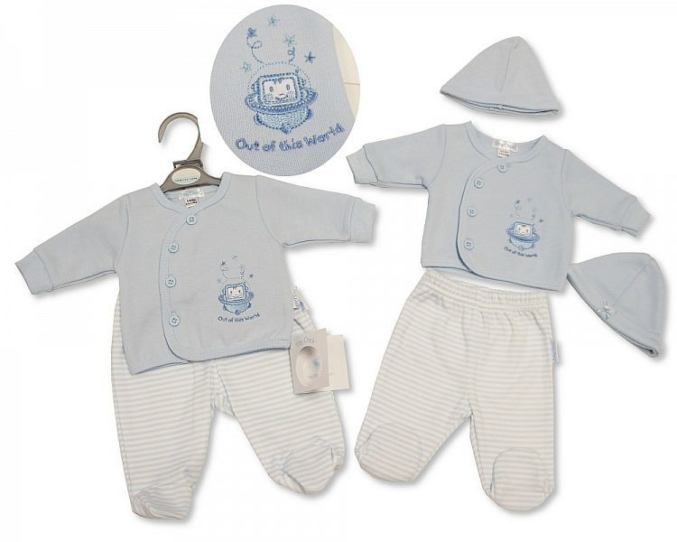PB327, Premature Baby Boys 2 Pieces Set with Hat - Out of This World £6.50.