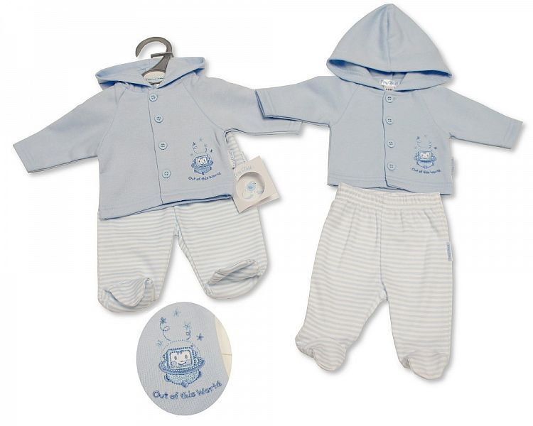 PB326, Premature Baby Boys Hooded 2 Pieces Set - Out of This World £6.50.