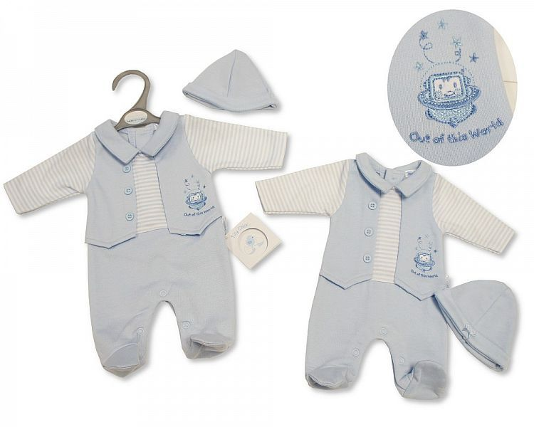 PB325, Premature Baby Boys All in One with Hat - Out of This World £5.25.