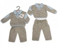 **BW933, Knitted Baby Boys 2 Pieces V-Neck Set £12.95.  PK6...