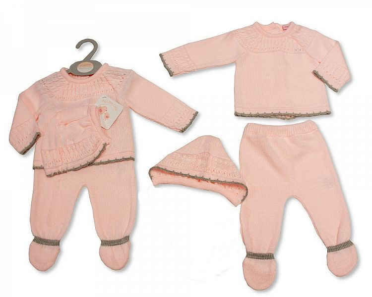 BW928, Knitted Baby Girls 3 Pieces Set £10.80.  PK6..