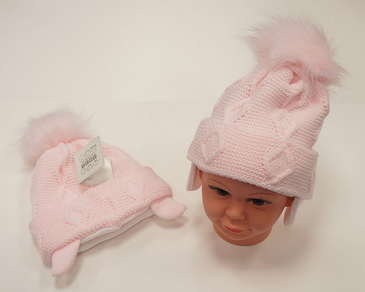 BW459P, Baby Girls Pom-Pom Hat with Cotton Lining £5.95.  PK6..