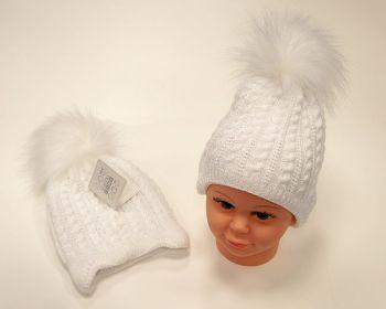 BW455W, Baby Girls Pom-Pom Hat with Cotton Lining £5.95.  PK6...