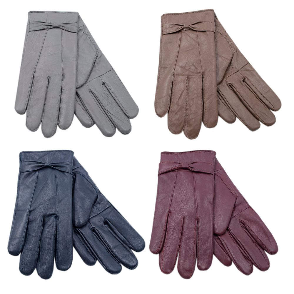 GL147, Ladies leather gloves in assorted colours £3.10. pk12..