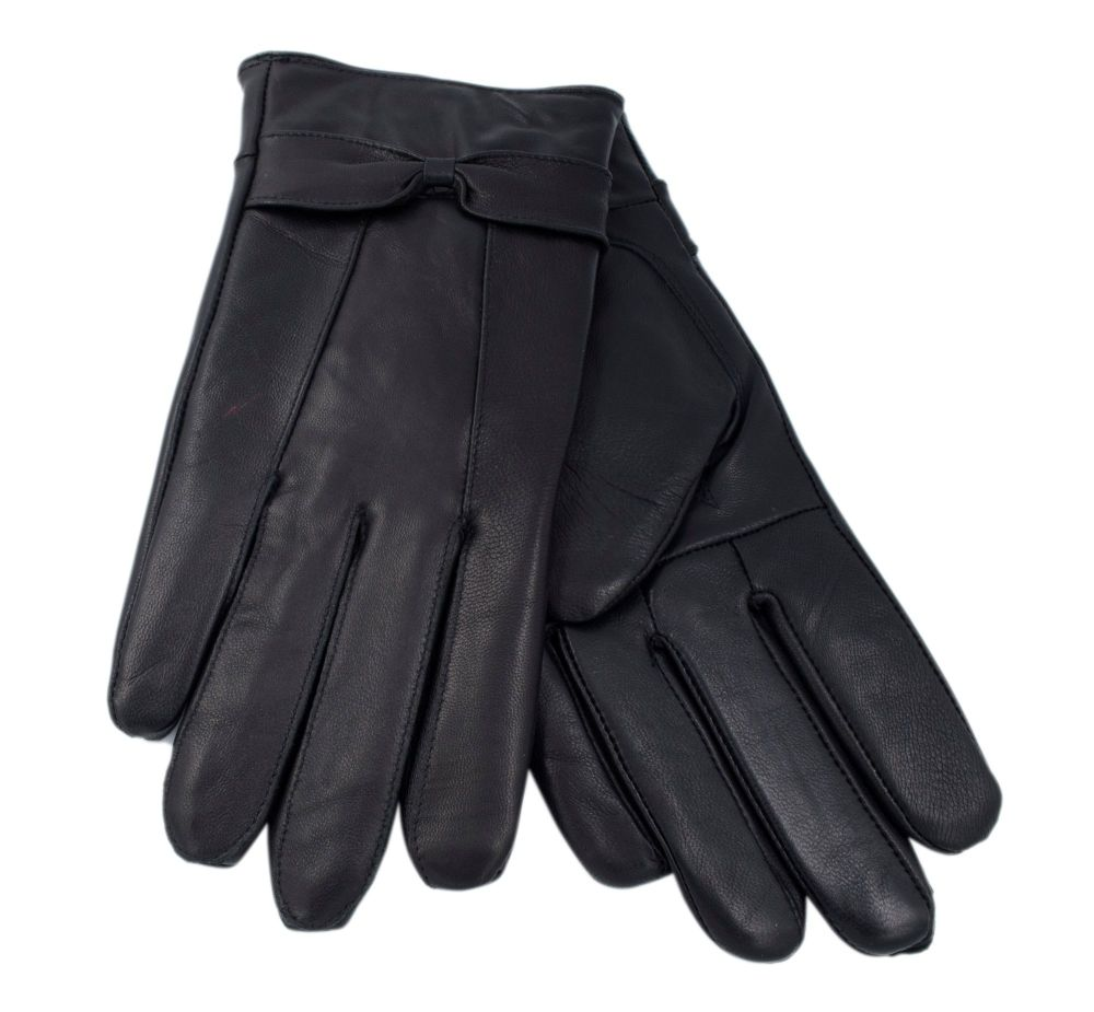 GL147BK, Ladies Black leather gloves with Bow £3.10. pk12...