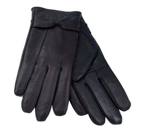 GL147BK, Ladies Black leather gloves with Bow £3.15. pk12...