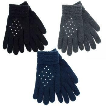 GL536, Ladies gloves with diamante, 1 dozen...