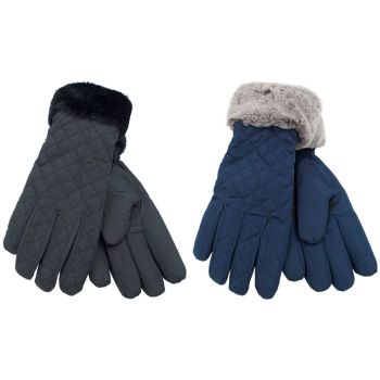 GL570, Ladies quilted glove with fur trim £3.15.  pk12..
