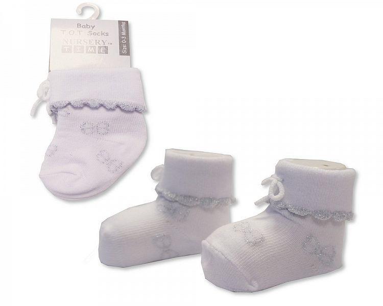 BW2208, Baby Girls Tot Socks - White £0.85.  PK6...