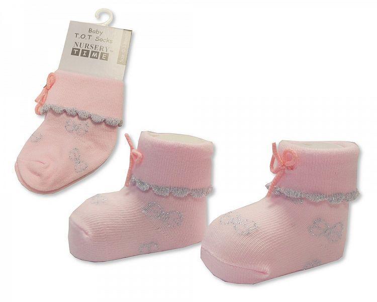 BW2207, Baby Girls Tot Socks - Pink £0.85.  PK6..