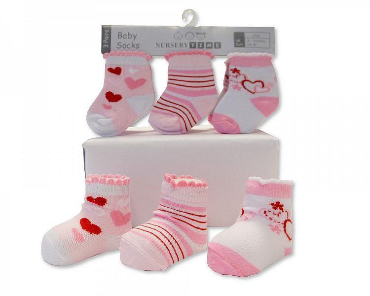 BW2202, Baby Girls 3 in a pack Socks £1.40.  8pks...