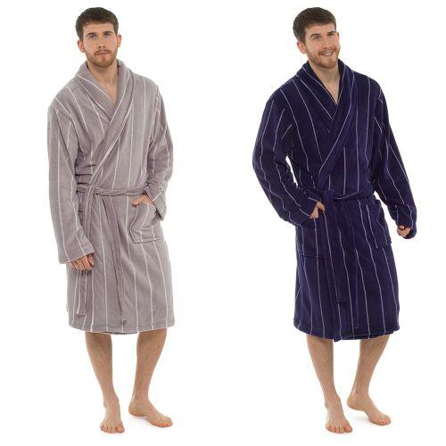 HT075, Mens Coral Fleece Pinstripe Gown £9.50. pk12..