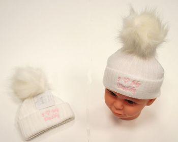 BW472, Baby Girls Knitted Pompom Hat - I Love Daddy £2.75.  PK6..