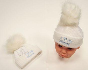 BW470, Baby Boys Knitted Pompom Hat - I Love Mummy £2.75.  PK6..