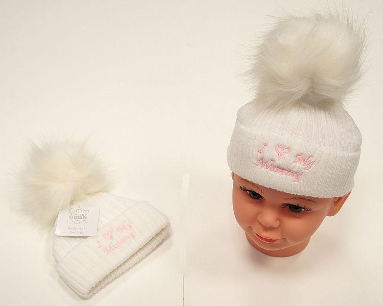 BW469, Baby Girls Knitted Pompom Hat - I Love Mummy £2.75.  PK6..