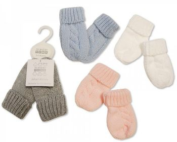 BW465, Knitted Baby Mittens £1.25.  PK6..