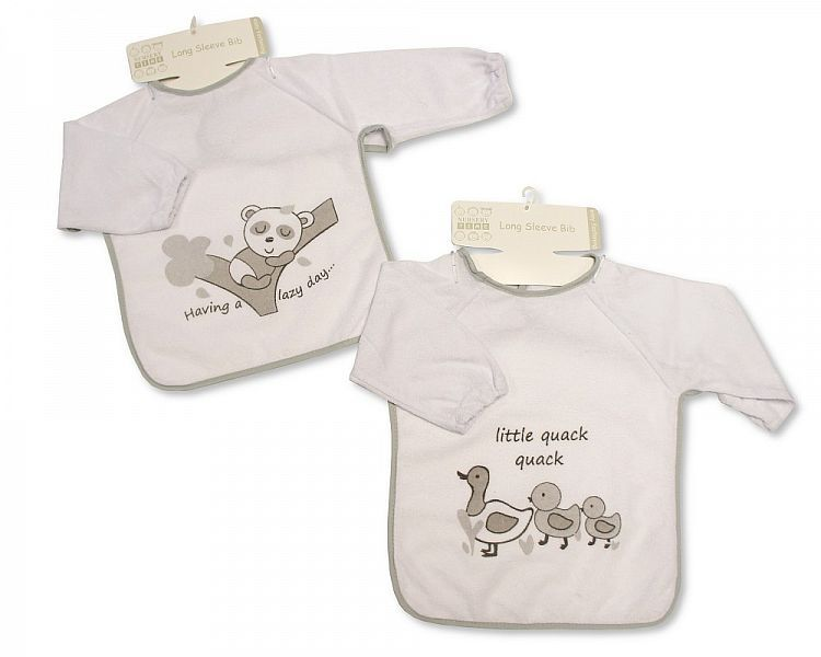 BW754, Baby Terry Bibs with Sleeves - Bear/ Ducks, 1 dozen..