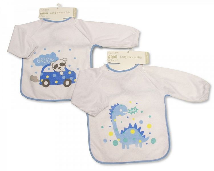 BW752, Baby Terry Bibs with Sleeves - Dino/ Car, 1 dozen...