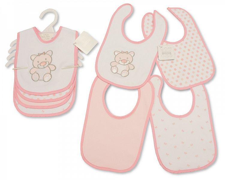 BW749, Baby Bibs 4 Pack - Teddy - Girls £3.20.  6PKS...
