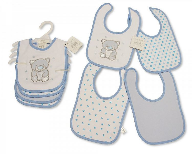 BW748, Baby Bibs 4 Pack - Teddy - Boys £3.20.  6PKS...