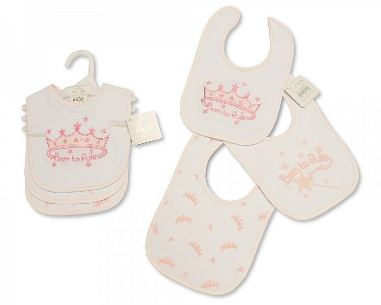 BW747, Baby Bibs 3 Pack - Born to Rule £2.50.  6PKS...