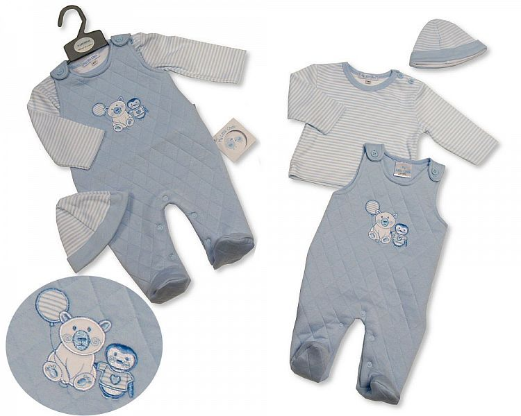 BIS2292, Baby Boys Quilted 2 Pieces Set with Hat - Polar Bear/ Penguin (Qui