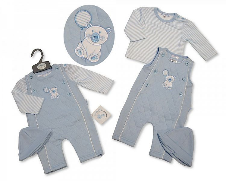 BIS2291, Baby Boys Quilted 2 Pieces Dungaree Set with Hat - Polar Bear £8.6