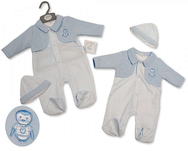 BIS2289, Baby Boys All in One with Faux Quilted Jacket and Hat - Penguin £7