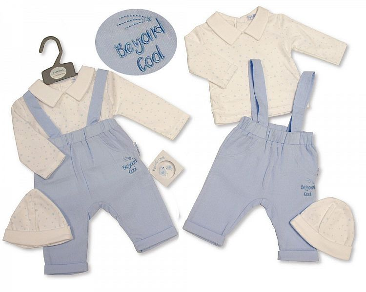 BIS2286, Baby Boys Woven 2 Pieces Dungaree Set with Hat - Beyond Cool £7.20