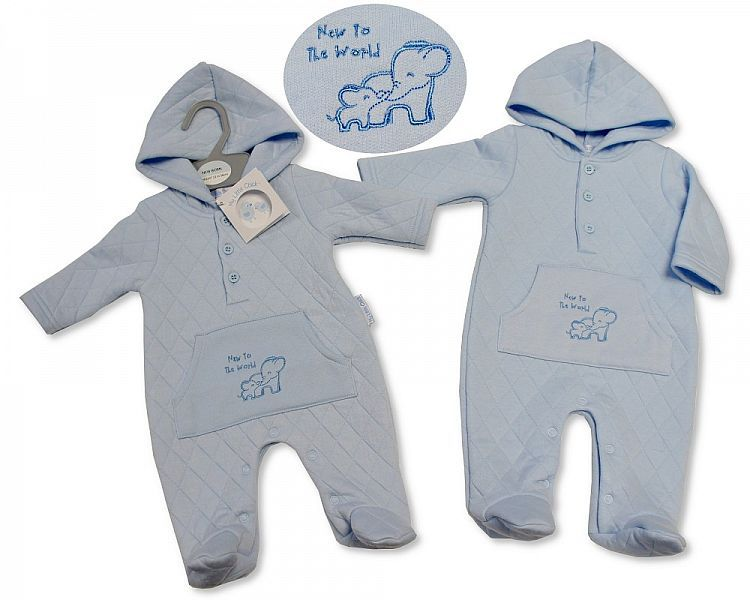BIS282, Baby Boys Quilted All in One with Hood - New to the World £7.20.  P