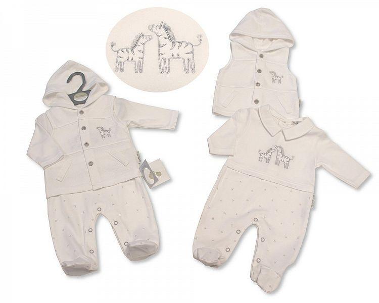 BIS2270, Baby Hooded 2 Pieces Gilet Set - Zebra £7.60.  PK6..