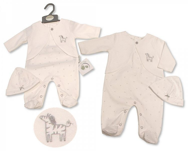 BIS2267, Baby All in One with Hat - Zebra £7.20.  PK6..