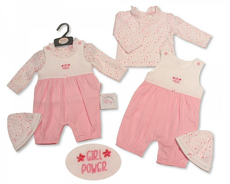 BIS2265, Baby Girls Woven 2 Pieces Romper Set with Hat - Girl Power £7.60.