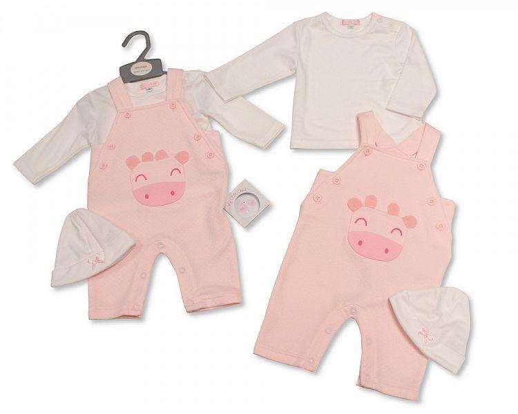 BIS2260, Baby Girls 2 Pieces Dungaree Set with Hat - Giraffe £7.90.  PK6..