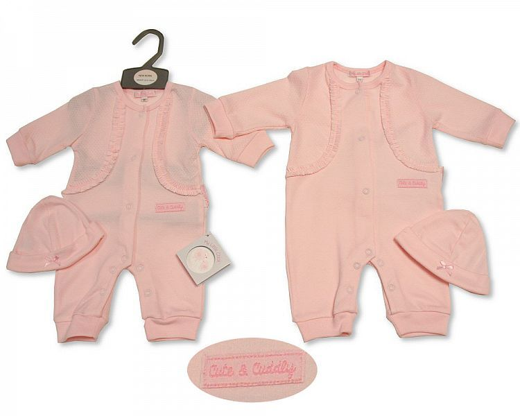 BIS2255, Baby Girls All in One with Hat - Cute and Cuddly £6.50.  PK6..