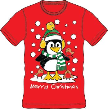 21A1403, Adults Christmas T shirt - Penguin £2.50.  pk24..