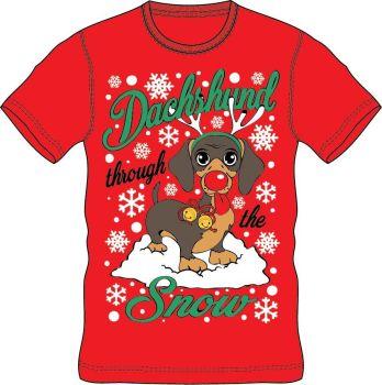 21A1409, Adults Christmas T shirt - Dachshund £2.50.  pk24..